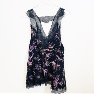 FREE PEOPLE | Black Purple Floral Print Lace Cami